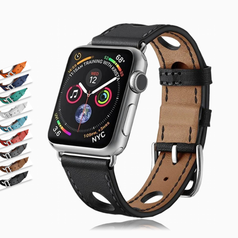 Apple Apple Watch band single leather tour 42mm 38mm 44mm 40mm fits iwatch nike hermes, series 5 4 3 belt replacement bracelet - USA Fast Shipping