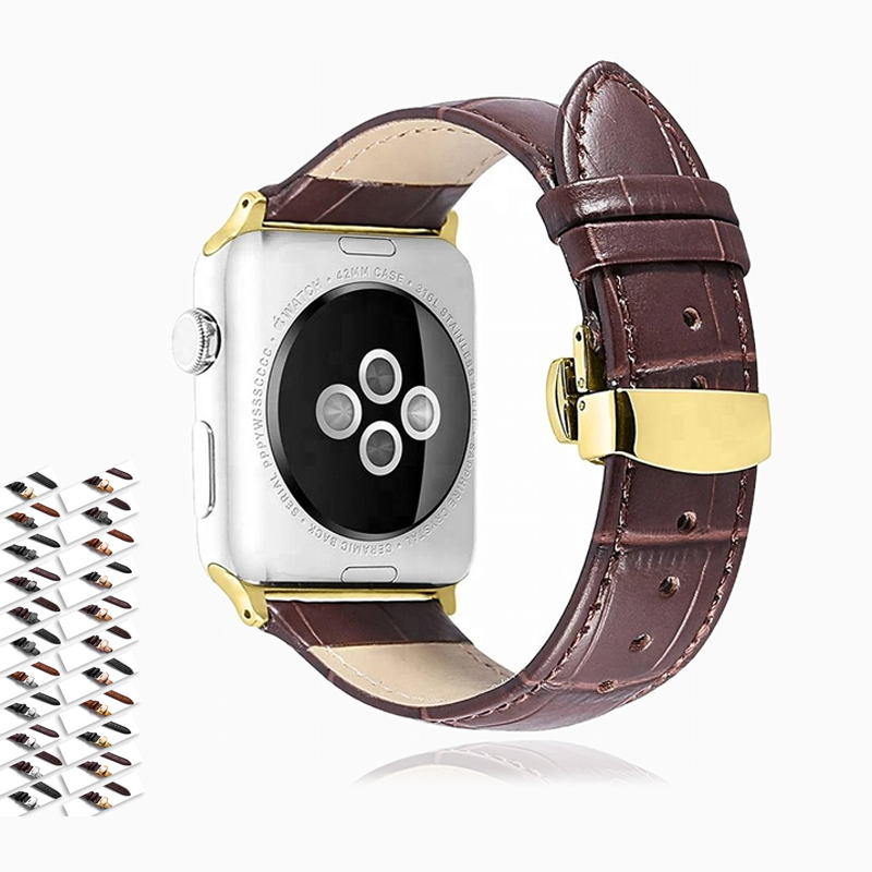 Apple Apple Watch Series 5 4 3 2 Band, Crocodile Grain cow Leather Butterfly Buckle Bands iWatch 38mm, 40mm, 42mm, 44mm unisex -  US Fast Shipping