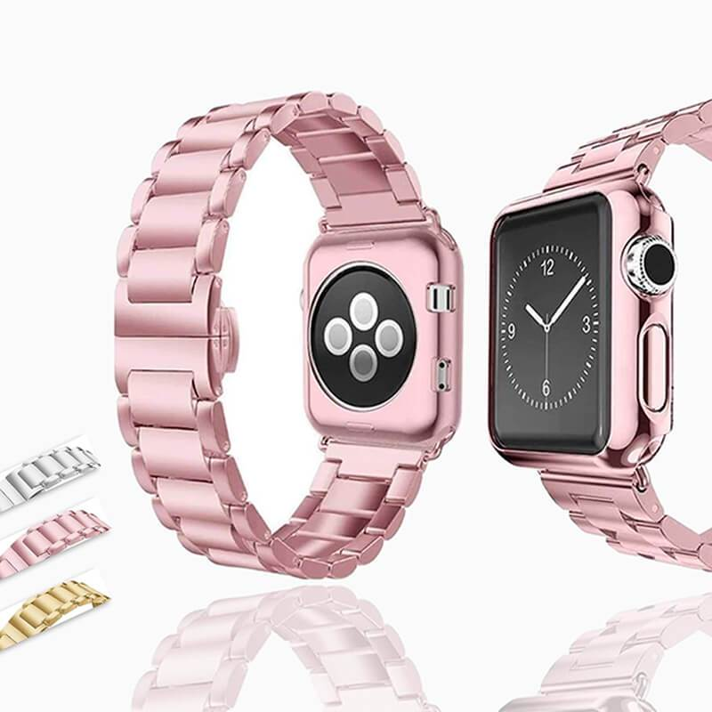 Apple Apple Watch Series 6 5 4 3 2 Band, Luxury case bundle set, Stainless Steel strap bracelet metal rolex link watchband, 38mm, 40mm, 42mm, 44mm