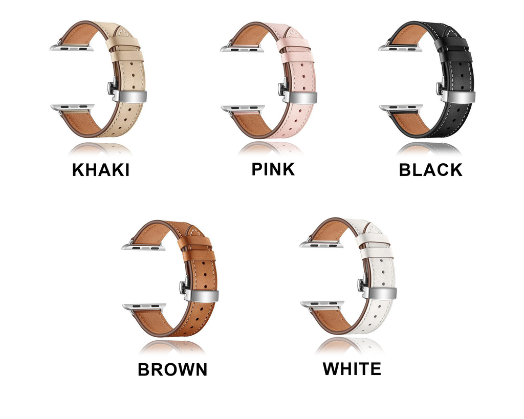 Apple Apple Watch leather Band, Strap Butterfly Clasp watchband Bracelet and Pin Buckle 38mm, 40mm, 42mm, 44mm - US Fast Shipping
