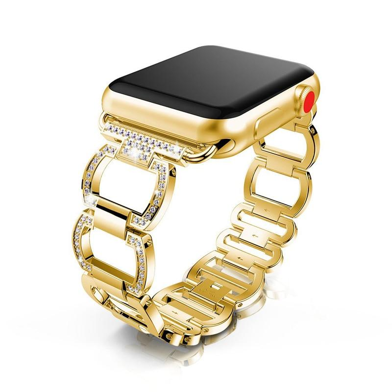 accessories Gold / 42mm / 44mm Apple Watch Series 6 5 4 3 2 Band, Smart Watch Diamond Metal bracelet for iWatch 38mm, 40mm, 42mm, 44mm - US Fast Shipping