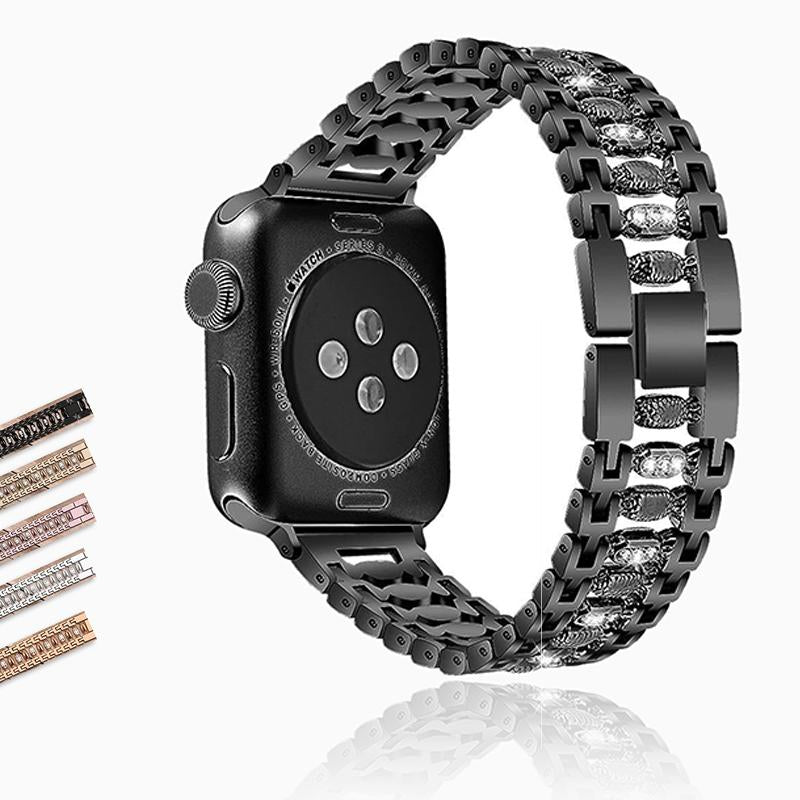 Apple Stainless Steel Women bling band for apple watch band 38mm/42mm Bracelet Adjustable Strap for apple watch 6 5 4 3 2 1 band