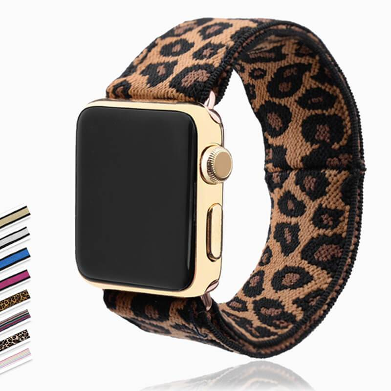 Home Elastic Stretch apple watch band, Double print Layer strap, fits nike hermes sports Series 6 5 4 3 2 1 iwatch women 38mm 40mm 42mm 44mm - US Fast Shipping