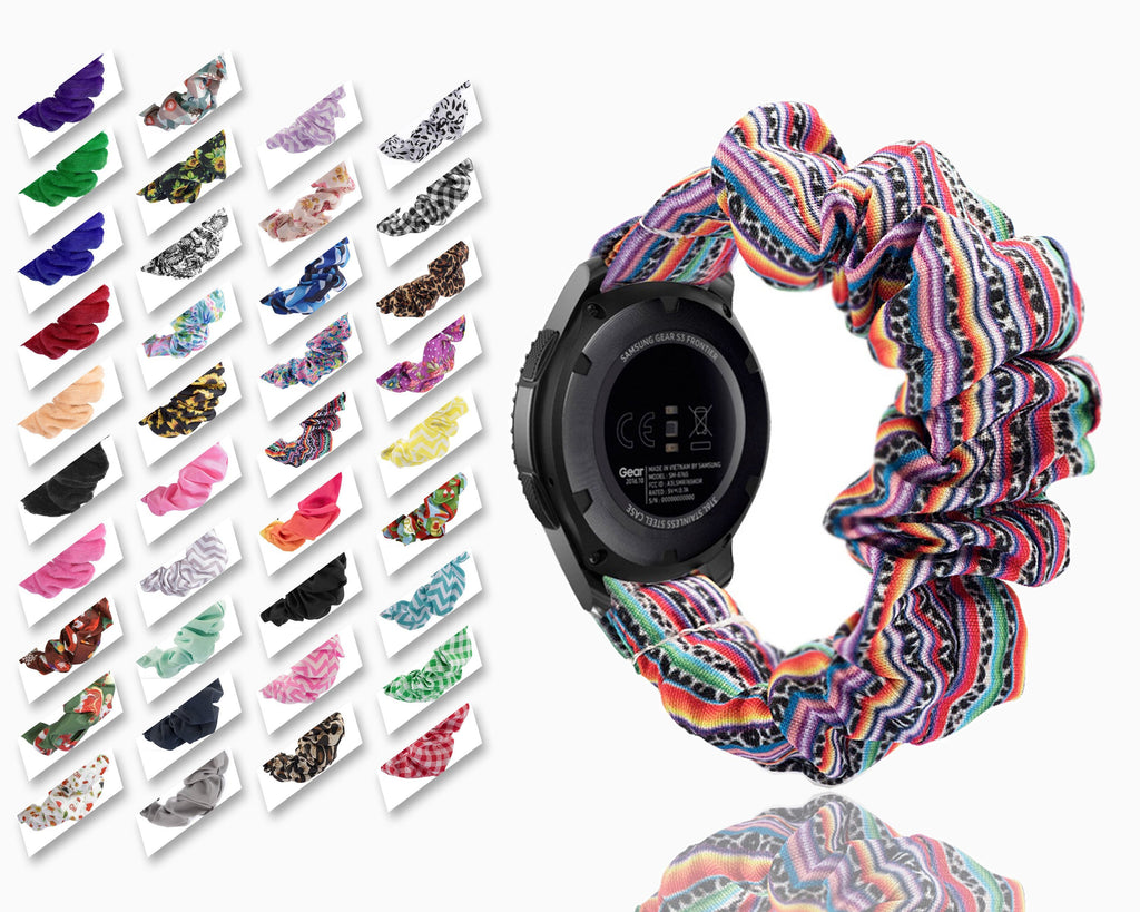 Home Cute Bohemian colorful rainbow Boho mexican fashion design Elastic Watch Strap for samsung galaxy watch active 2 huawei watch GT 2 strap gear s3 frontier amazfit bip strap 22 mm