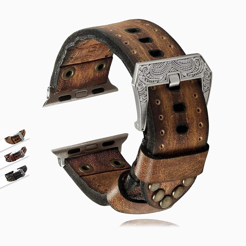 Watchbands Handmade Apple Watch band, vintage Tooled rivet rustic retro genuine leather men cuff strap in brown, black Series 5 4 3 - US Fast Shipping