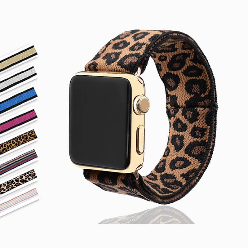 Home Elastic Stretch apple watch band, Double print Layer strap, fits nike hermes sports Series 5 4 3 2 1 iwatch women 38mm 40mm 42mm 44mm - US Fast Shipping