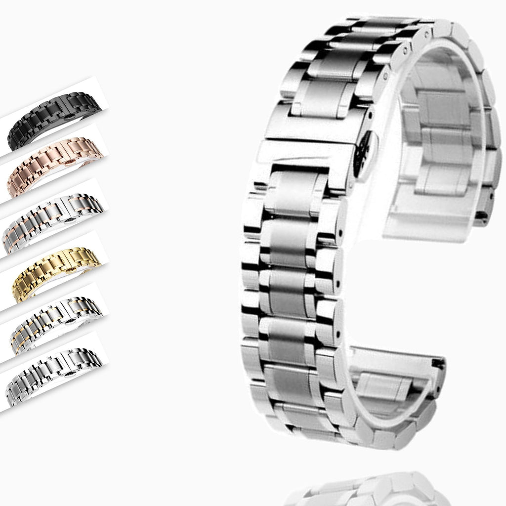 Watchbands 14 16 18 20 22 24 26mm watch Accessories Stainless Steel Watch band metal Strap Bracelet Watchband Wristband Butterfly belt|Watchbands|