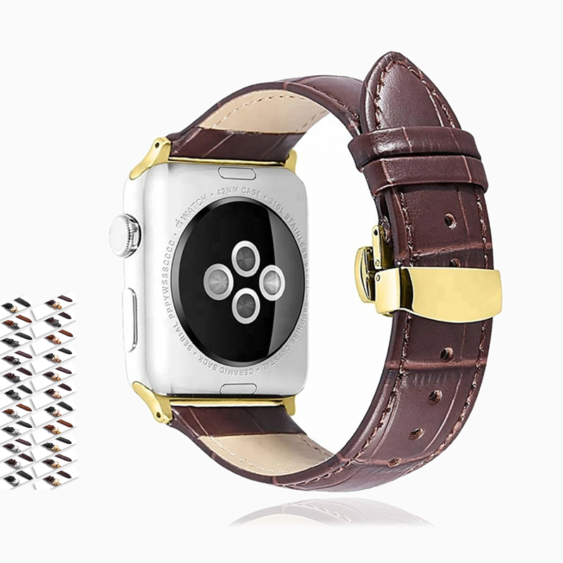Apple Genuine cow leather Apple Watch Band, Crocodile croco alligator style pattern embossed, fit iWatch Hermes Series 5 4 3 2 - US Fast Shipping