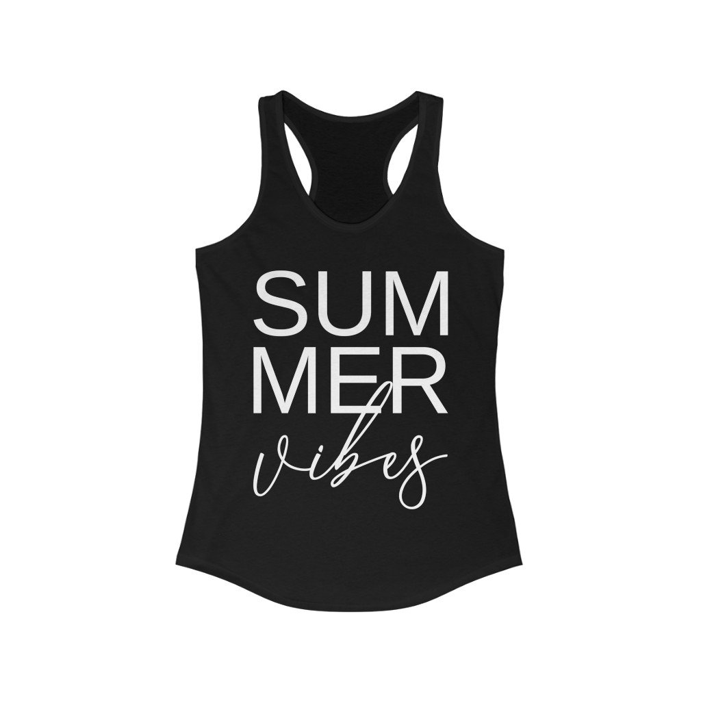 Tank Top Solid Black / XS Summer Vibes design Tank tops, Muscle Tank for summer vacation, beach Comfy outfit tank for  women, gift for her