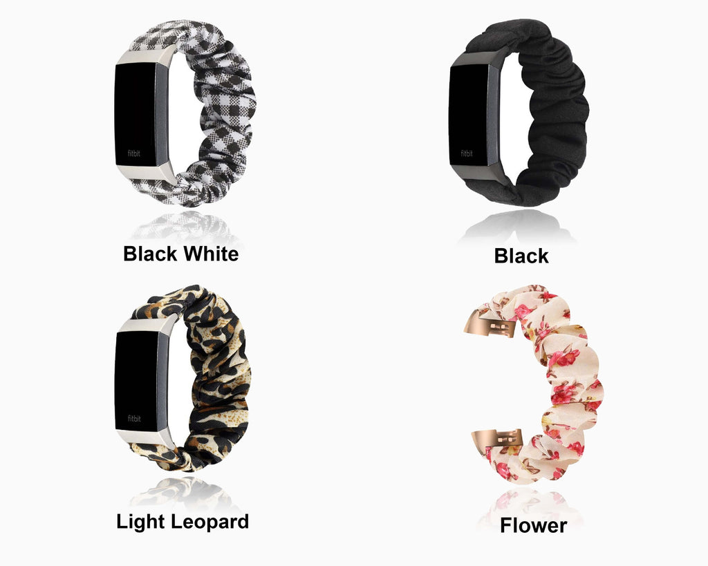 Watchbands Scrunchies Buffalo Plaid Checkered Black White Gingham Watch Band For Fitbit Charge 4 3, Women Soft Elastic Sport Bracelet ladies Watchband