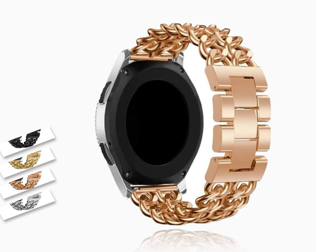 Home Samsung Gear S3 Galaxy Watch 46mm Watchband, Men Women Classic Cowboy Chain Luxury Steel Bracelet 22mm Replacement Wristband Strap Unisex
