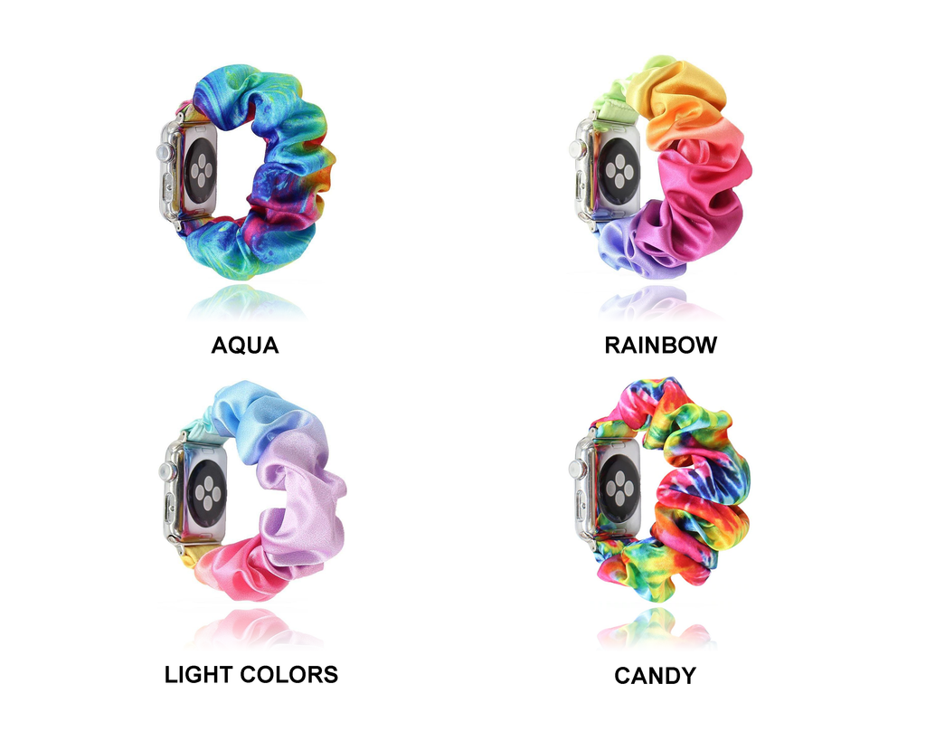 Watchbands New Arrival Rainbow Tie dye Satin Apple Watch Scrunchie Band 38/40mm 42/44mm For Women Elastic Scrunchie Watch Bracelet Band|Watchbands|