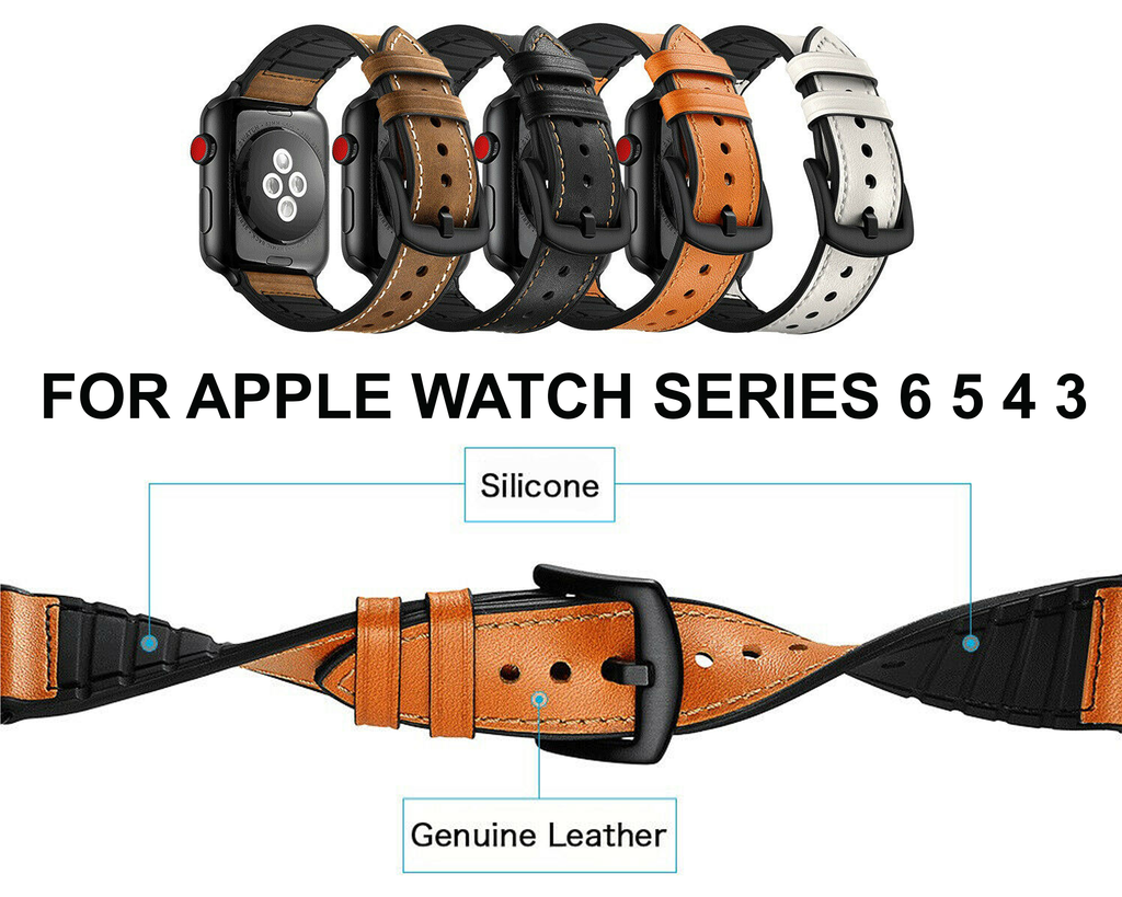 Watches Apple Watch Series 6 5 4 3 2 Band, Leather over Silicone Apple watch band strap 38mm, 40mm, 42mm, 44mm - US Fast Shipping