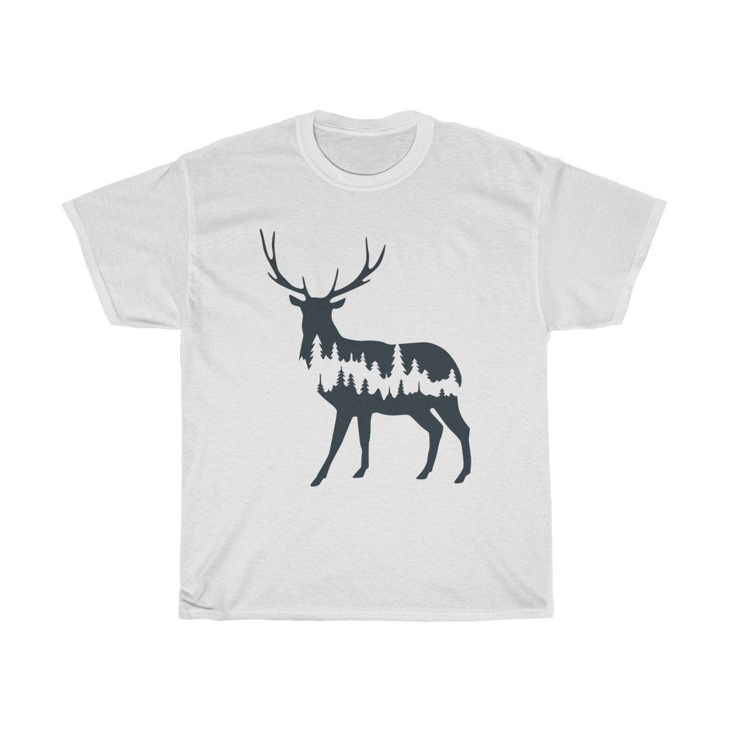 T-Shirt White / S Deer Shadow shirt design, simple plain design animal prints, cute tee for men & women, unisex tee-shirts, plus size shirts