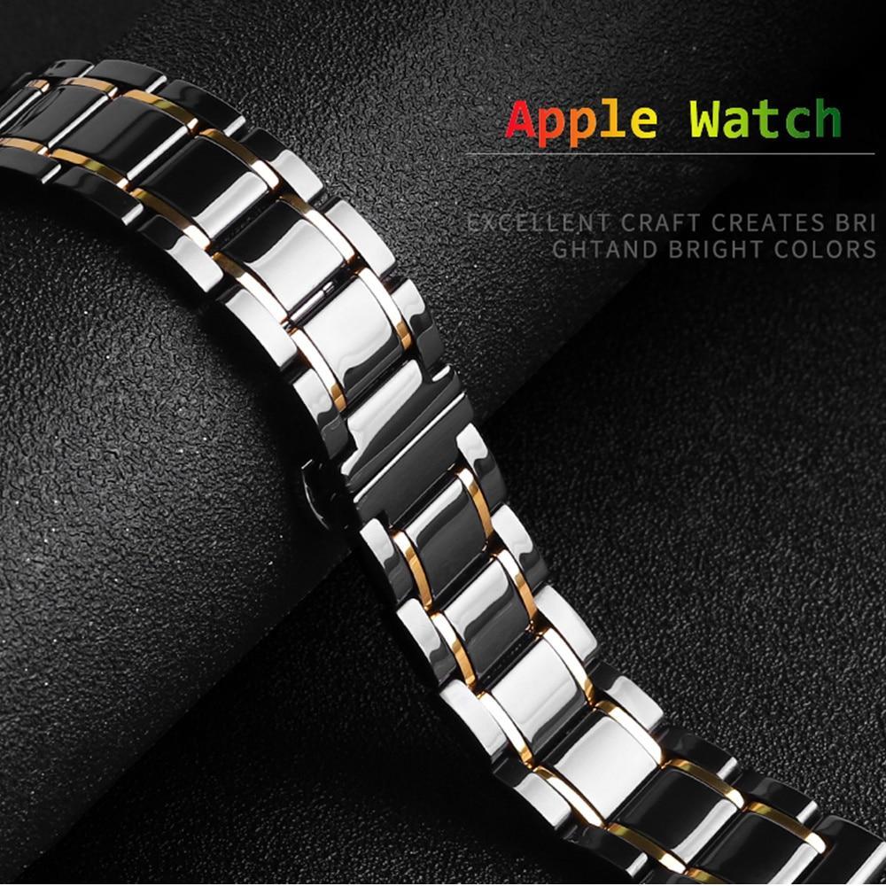 Watchbands Ceramic Strap for Apple Watch 5 Band 44mm 40mmm Luxury Stainless steel bracelet iWatch band 42mm 38mm 40 42 44 mm series 3 4 5|Watchbands|