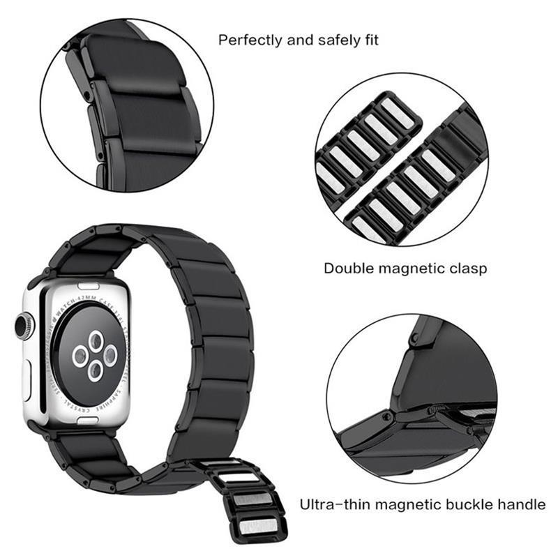 Home Apple watch band black/silver stainless steel adjustable Magnetic strap & loop, iwatch series 6 5 4 3 44mm/40mm 42mm/38mm - US Fast Shipping