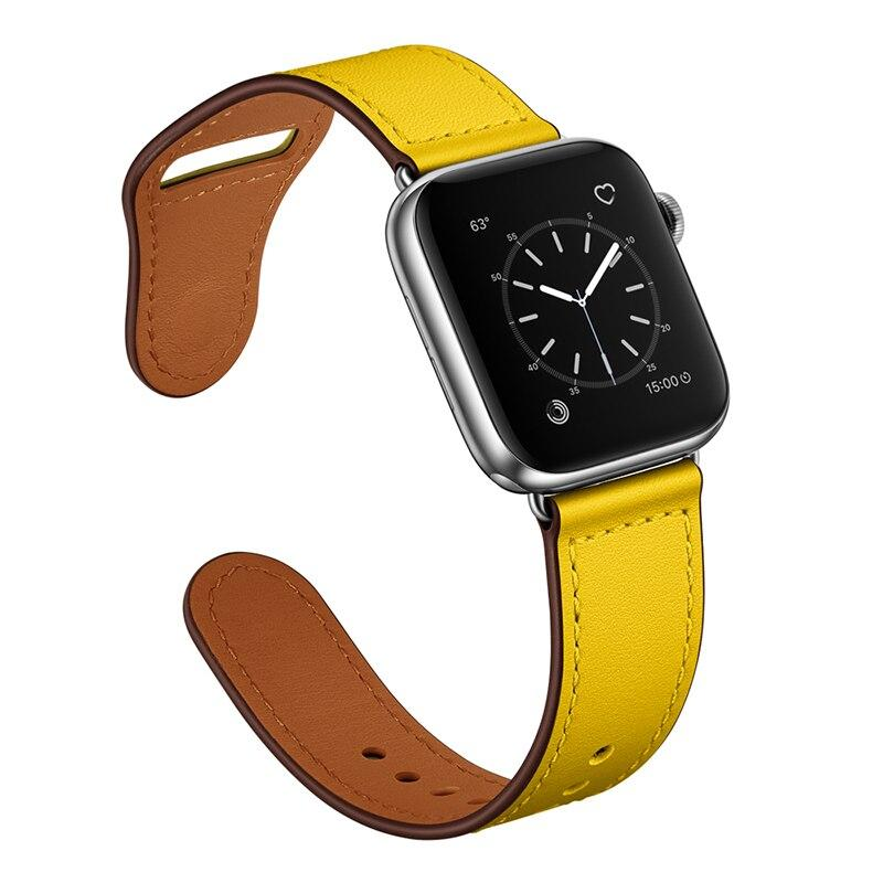 Apple Yellow/Silver adptr / 38-40mm Series 54321 Faux Leather Strap for pulseira apple watch band 42mm 38mm 40mm 44mm sports high-quality correa for apple iWatch bracelet 5/4/3/2 belt