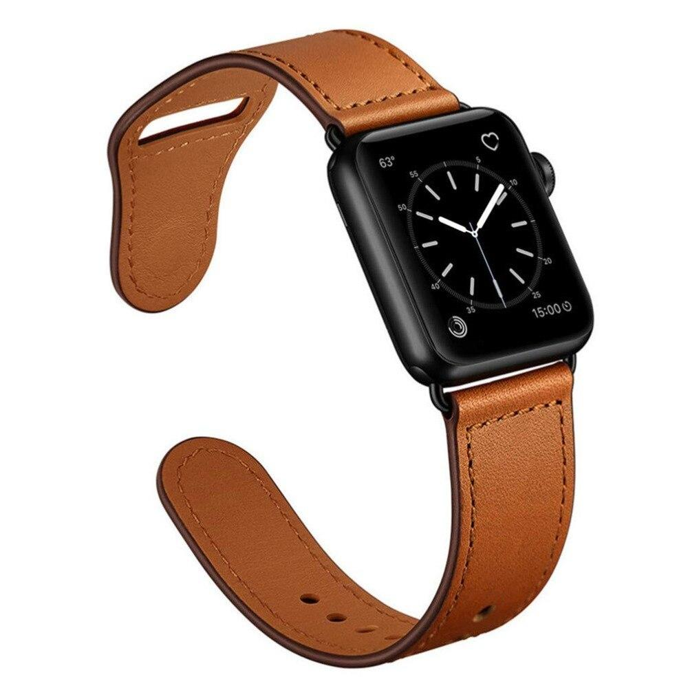 Apple Brown/Black adapter / 38-40mm Series 54321 Faux Leather Strap for pulseira apple watch band 42mm 38mm 40mm 44mm sports high-quality correa for apple iWatch bracelet 5/4/3/2 belt