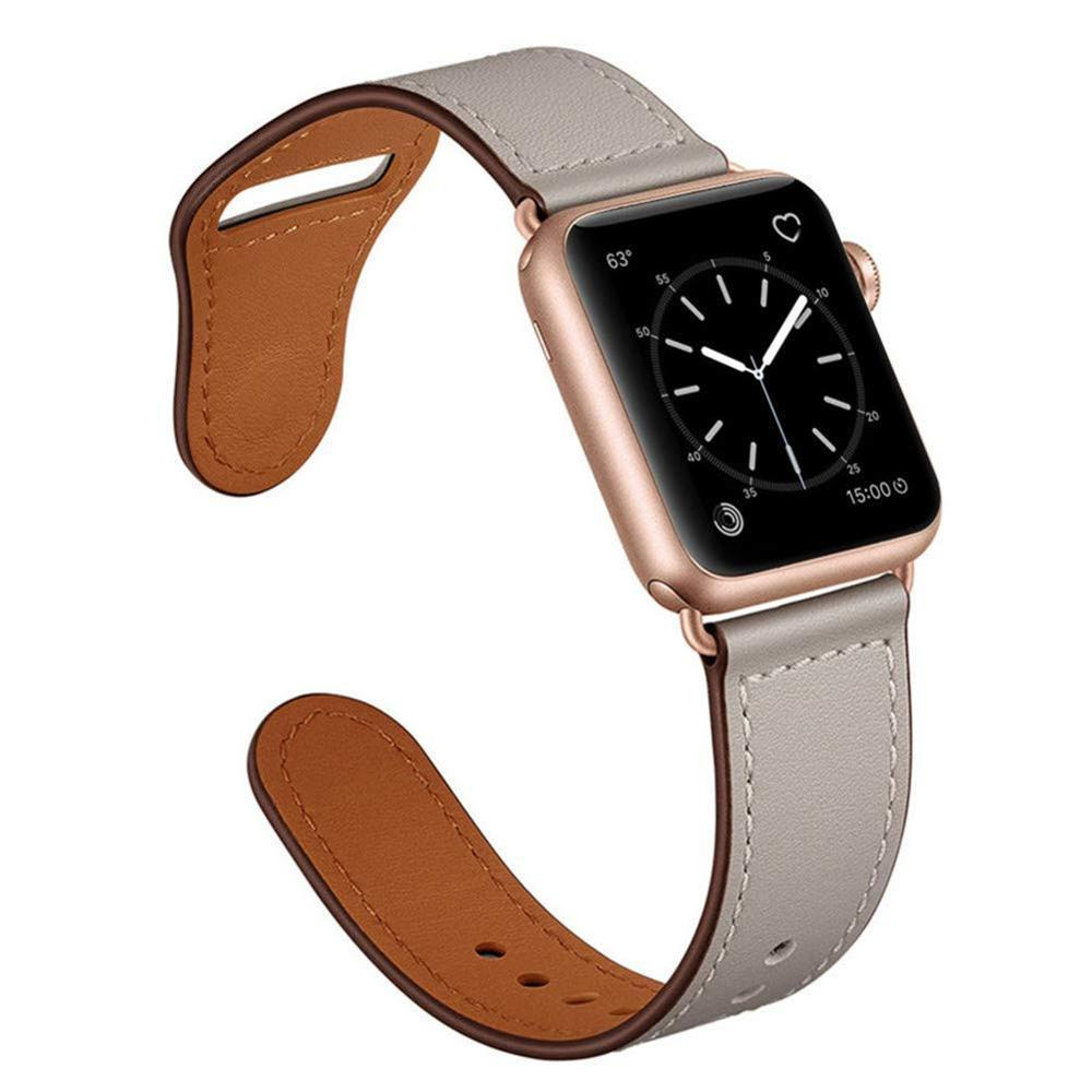 Apple Gray/Rose Gold Adptr / 38-40mm Series 54321 Faux Leather Strap for pulseira apple watch band 42mm 38mm 40mm 44mm sports high-quality correa for apple iWatch bracelet 5/4/3/2 belt