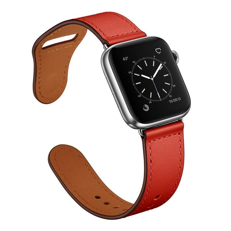 Apple Red/Silver adapter / 38-40mm Series 54321 Faux Leather Strap for pulseira apple watch band 42mm 38mm 40mm 44mm sports high-quality correa for apple iWatch bracelet 5/4/3/2 belt