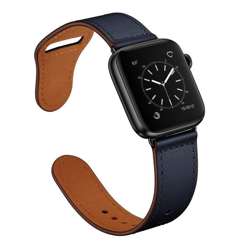 Apple Midnight Blue/Black / 38-40mm Series 54321 Faux Leather Strap for pulseira apple watch band 42mm 38mm 40mm 44mm sports high-quality correa for apple iWatch bracelet 5/4/3/2 belt