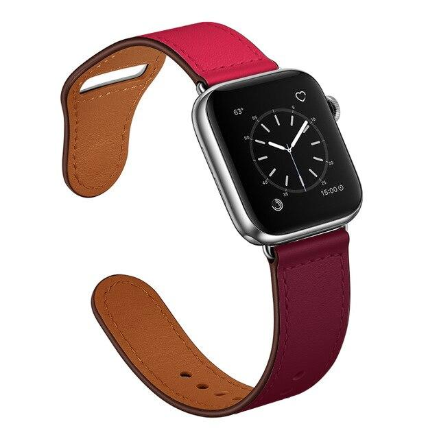 Apple Pink-Purple/Silver / 38-40mm Series 54321 Faux Leather Strap for pulseira apple watch band 42mm 38mm 40mm 44mm sports high-quality correa for apple iWatch bracelet 5/4/3/2 belt