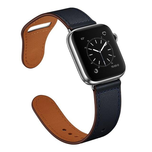 Apple Black/Silver adapter / 38-40mm Series 54321 Faux Leather Strap for pulseira apple watch band 42mm 38mm 40mm 44mm sports high-quality correa for apple iWatch bracelet 5/4/3/2 belt