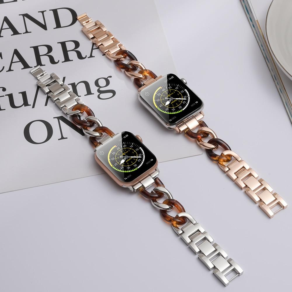 Watchbands Apple Watch Cowboy chain Style Rose gold Resin women strap, fit iwatch nike hermes Series 5 4 3 42/ 44mm 38/40mm steel Bracelet ladies  girl Watchband
