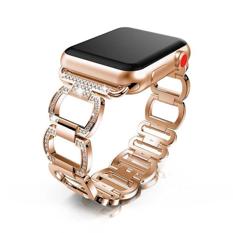 accessories Rose Gold / 42mm / 44mm Apple Watch Band Diamond bling shiny crystal breathable steel bracelet