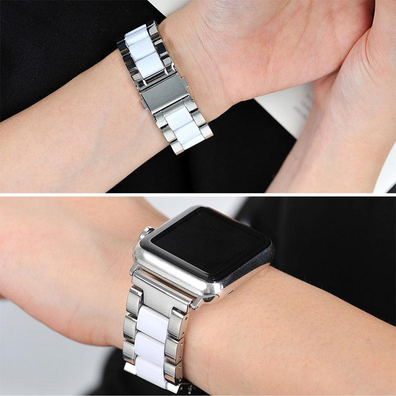 Home Ceramics & Stainless steel strap for apple watch 44mm 42mm 40mm 38mm iWatch series 6/5/4/3 watchband bracelet Accessories - US Fast Shipping