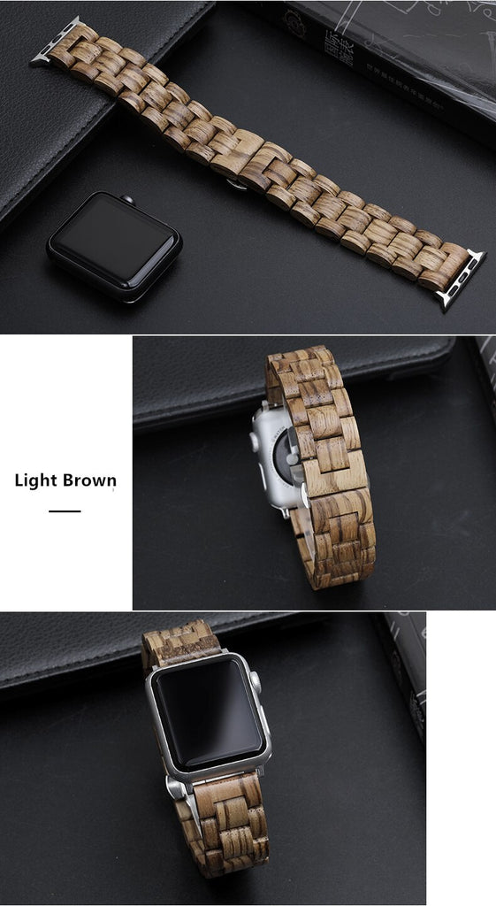 Watches Apple watch band, Green Natural Bamboo Watchbands, Wood Watch strap, iWatch fits 44mm,  42mm, 40mm, 38mm, Series 1 2 3 4 5 6