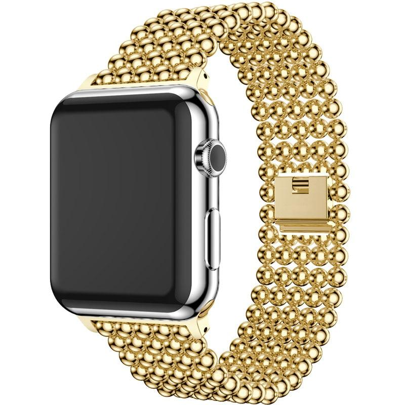 Accessories Gold / 38mm / 40mm Apple Watch Series 6 5 4 3 2 Band, Minimal Stainless Steel Metal, 38mm, 40mm, 42mm, 44mm - US Fast Shipping