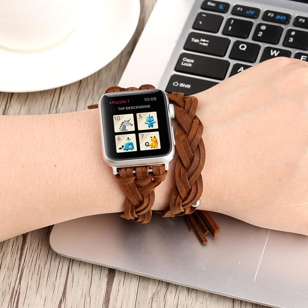 Apple Apple watch band Genuine Leather braided bead bracelet, double wrap women strap iwatch 6 5 4 3 2 38/40mm 42/44mm - silver