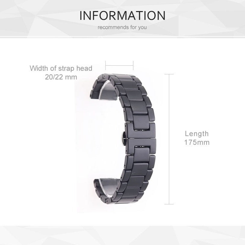 Watchbands New Apple Watch Band Mens Link Ceramic Matte Space Gray Black Strap 6