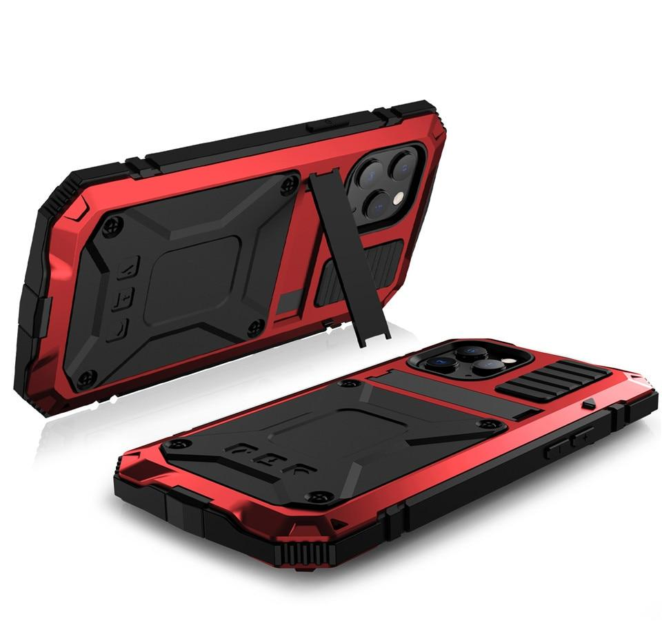 Fitted Cases Kickstand Phone Case For iPhone 12 Pro Max XS Max XR Dustproof Shockproof Tempered glass Metal Cover For iPhone 12 Mini 11 Pro|Fitted Cases|