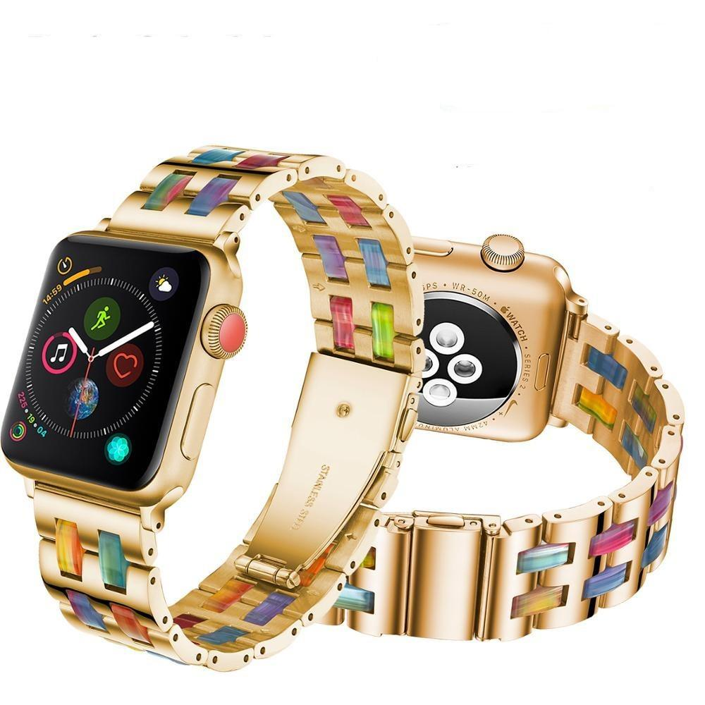 Watchbands Luxury Resin strap for Apple Watch Band 5 4 3 2 40mm 44mm 38 42mm for iWatch Series 5 4 3 Bracelet Stainless Steel Resin Strap|Watchbands|