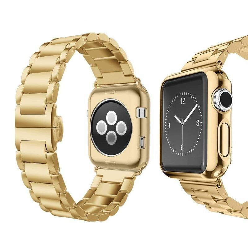 Watchbands Luxury Stainless Steel Strap+case For apple watch 44/40mm 42mm 38mm band Metal bracelet for iWatch Series 6 SE 5 4 3 wrist belt|Watchbands|