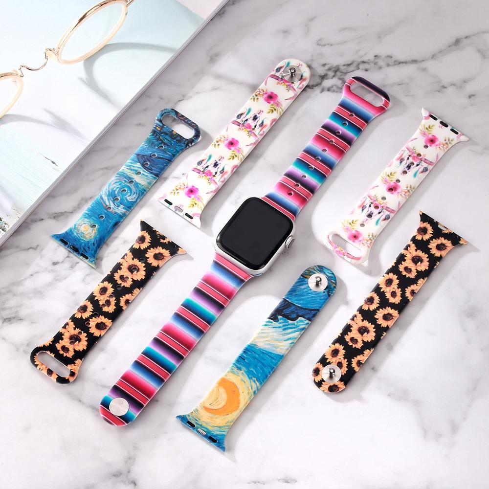 Watchbands New Double Side Print Flowers Silicone Band for Apple Watch 38mm 40mm 42mm 44mm Sport Soft Strap Band for iwatch Series 5 4 3