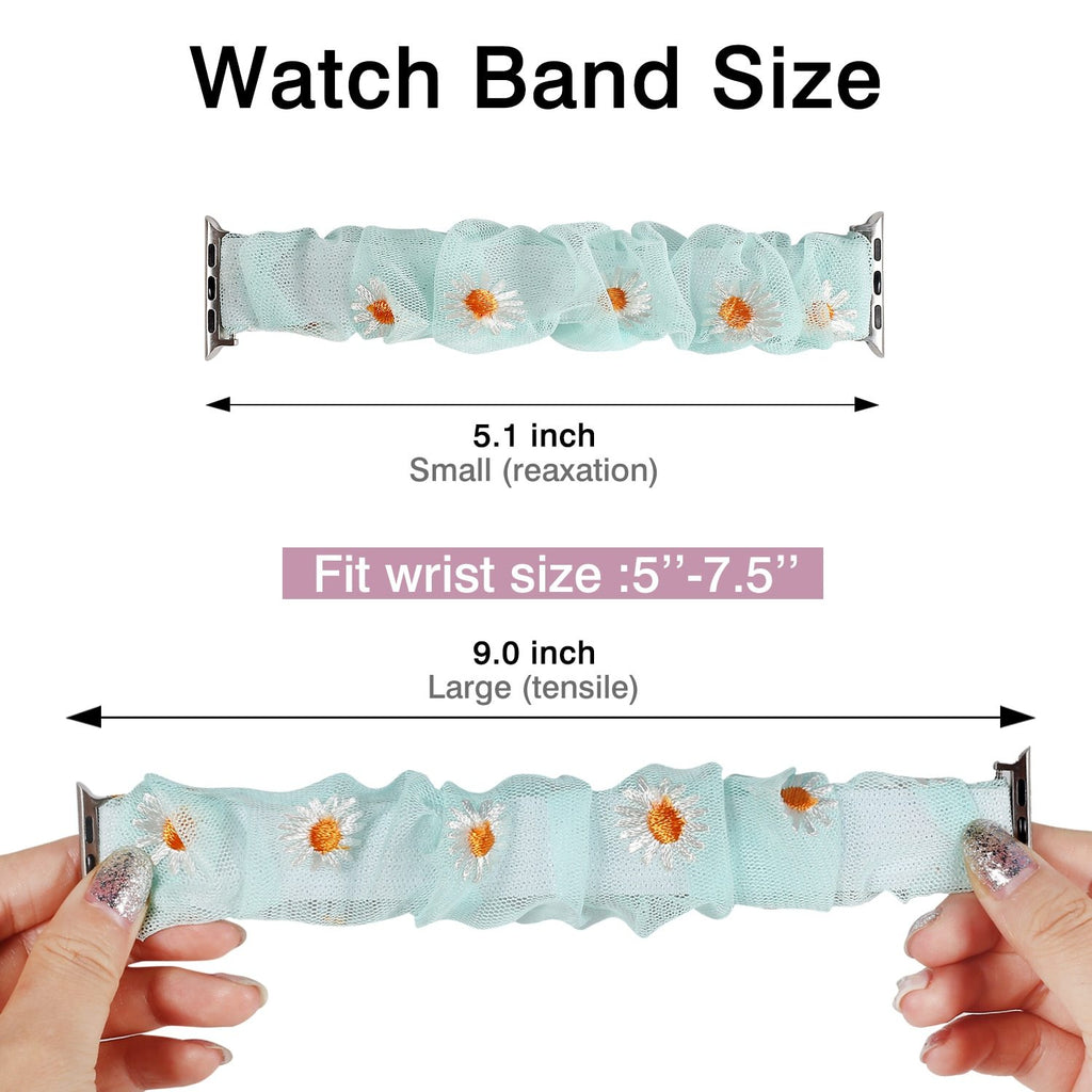 Watchbands New Summer Chiffon breathable Scrunchie Elastic Strap for Apple Watch 38 40 42 44mm Women Chiffon Band for Iwatch Series 5/4/3/2/1 Wrist Bracelet Watchbands