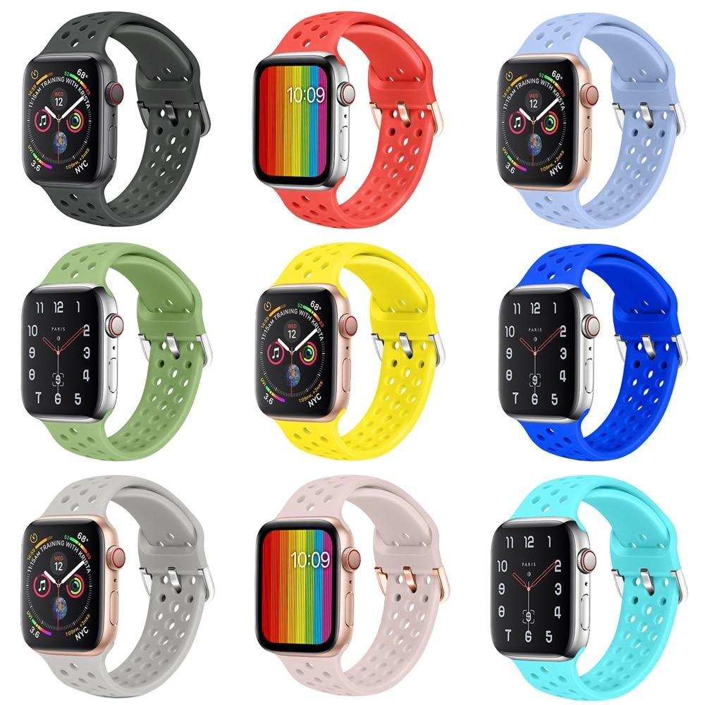 Watchbands Sport Silicone Band for Apple Watch Strap correa apple watch 42mm 38 mm iwatch band 44mm 40mm fashion bracelet watchband 5 4 3 2|Watchbands|