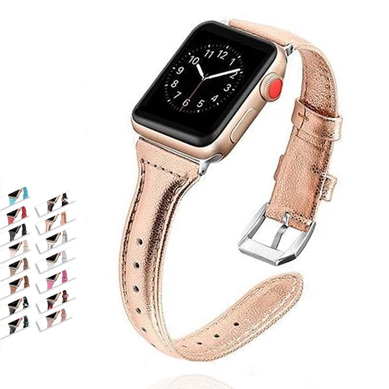 Apple Metallic Vegan leather strap For apple watch 6 5 4 42mm 38mm 44mm 40mm belt for iWatch band leather Bracelet Accessories women's - USA Fast Shipping