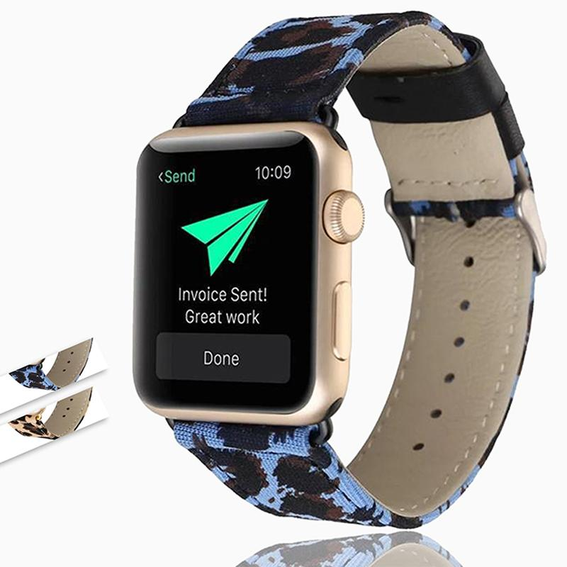 Apple Leopard Printed Leather Watchband Strap for Apple Watch 38mm/42mm 44mm/40mm Series 6 5 4 3 2 1 iwatch Wrist Band Bracelet - US Fast Shipping