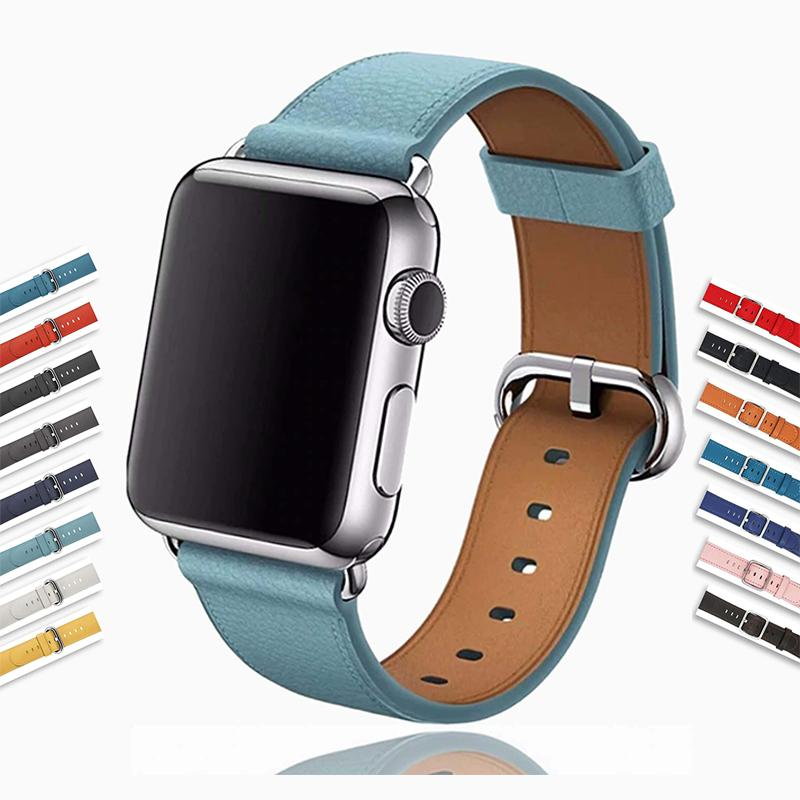 Apple Silver buckle Apple Watch Band genuine Leather Strap, iwatch blue Classic Bracelet Watchband Serie 6 5 4 3 42/44mm 38/40mm - US Fast Shipping