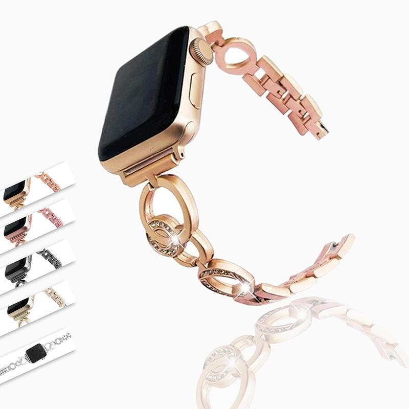 Apple Apple Watch Women Band Strap Bracelet, Diamond Bling Stainless Steel, Fits 38mm 42mm 40mm 44mm series 6 5 4 3