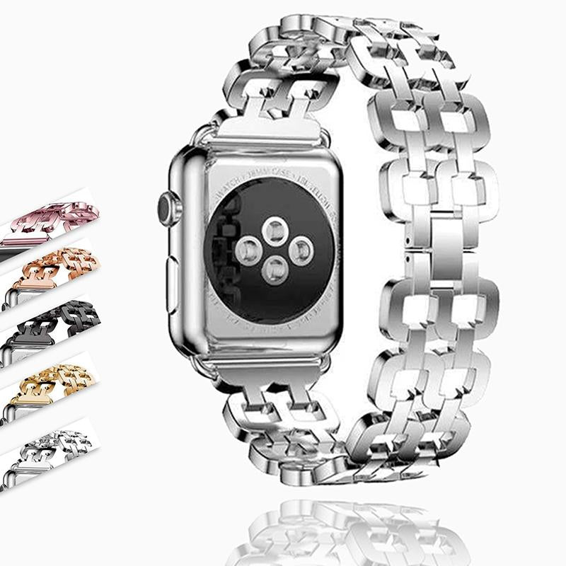 Watches Apple Watch Series 6 5 4 3 2 Band, Luxury Metal Strap stainless Steel Link Bracelet Wrist Bands 38mm, 40mm, 42mm, 44mm - US Fast Shipping