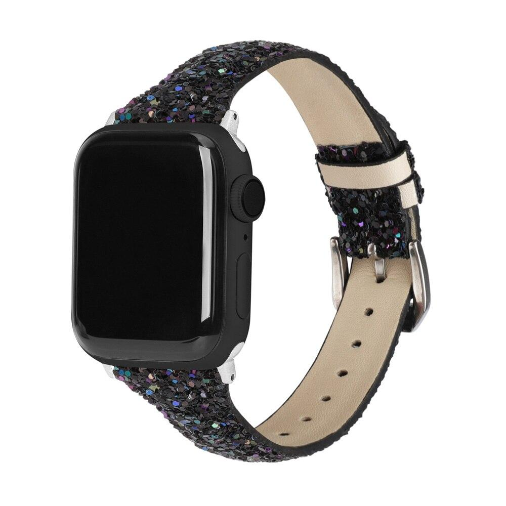 Home Thin Slim Strap For Apple Watch band 44 mm 42mm 40mm 38mm Leather Bling Band Wristwatch Bracelet Shiny metallic Glitter Strap iwatch Series 5/4/3
