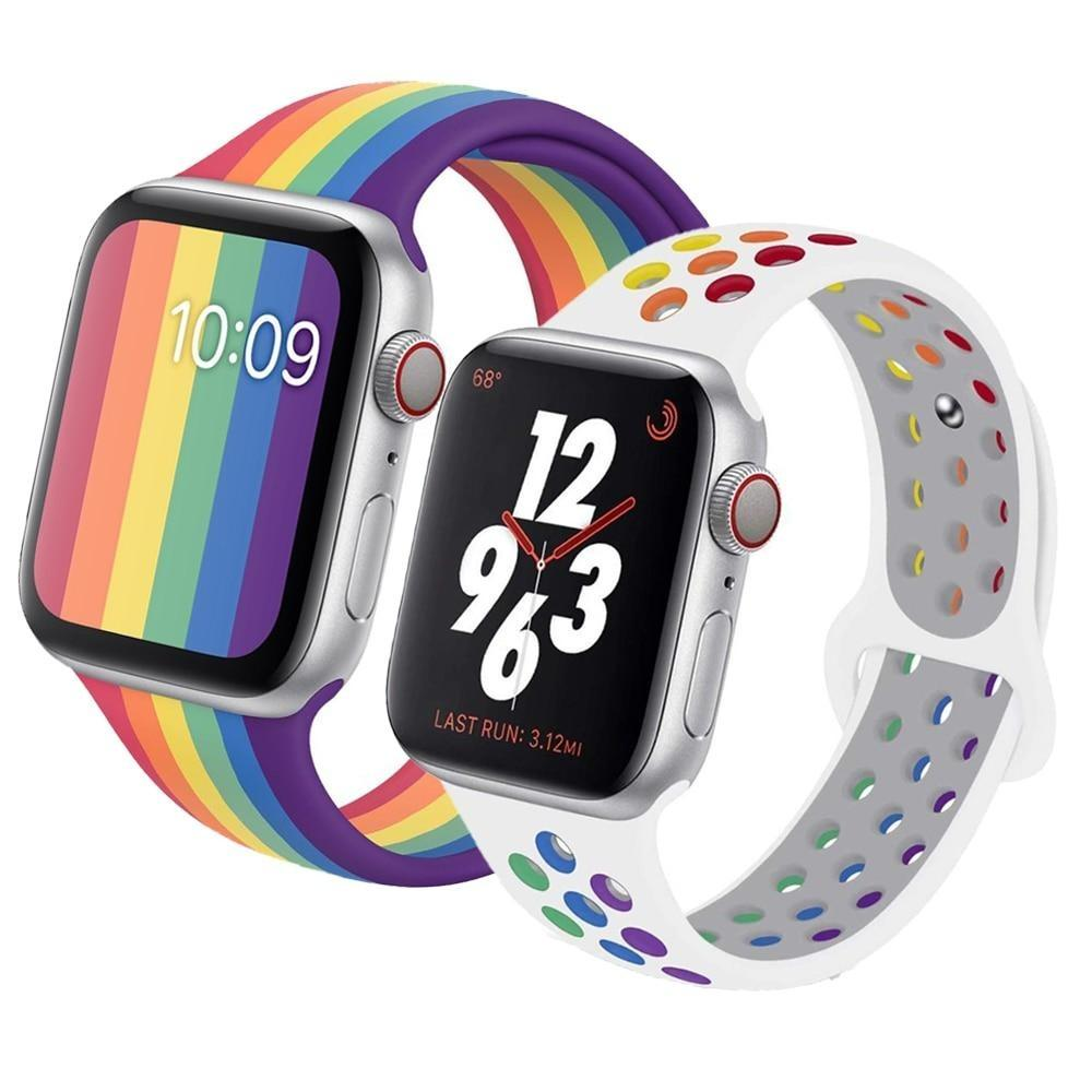 Watchbands Strap For apple watch 6 band 44mm 40mm iwatch band 42mm 38mm silicone bracelet Pride Edition for apple watch series 5 4 3 2 SE|Watchbands|