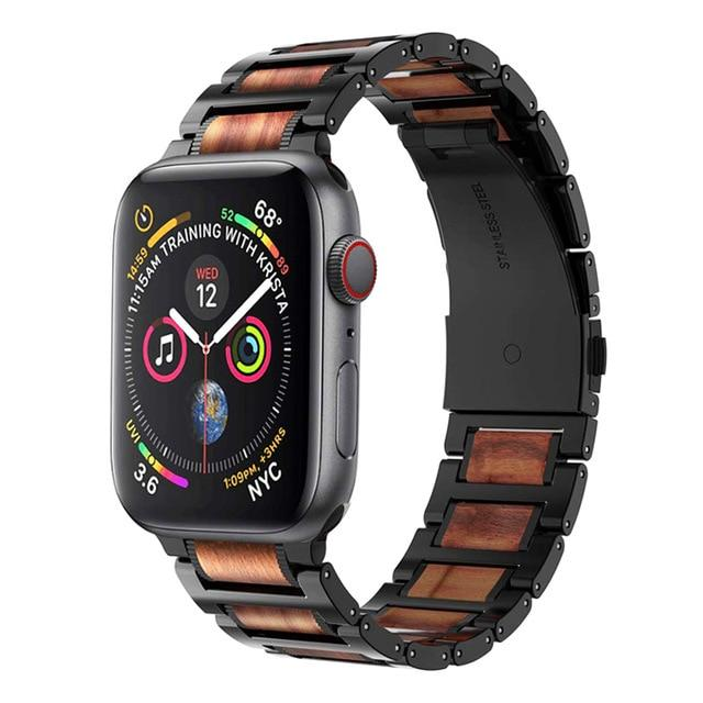 Watches Black / 38mm / 40mm Apple Watch Natural Wood Steel Band Sandalwood Cool men Wooden Strap