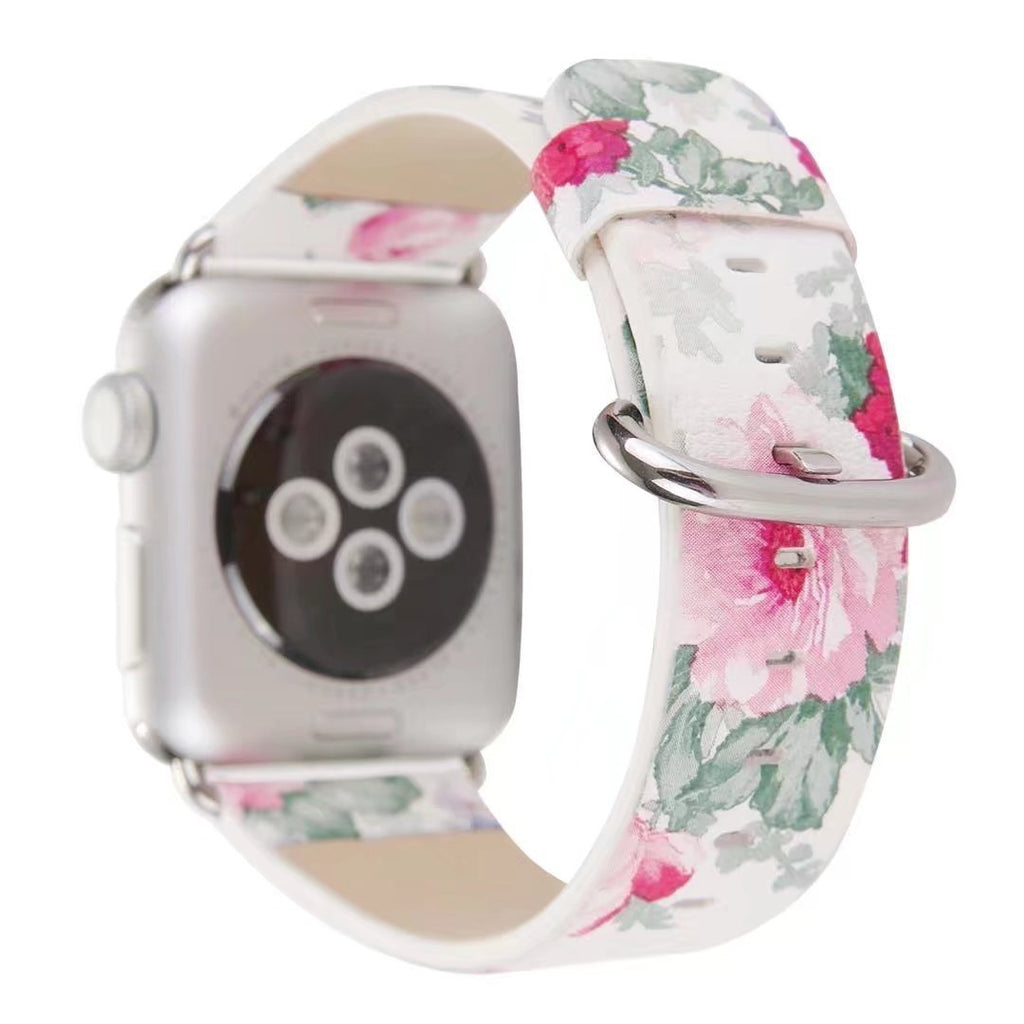Accessories Apple Watch band Strap, Chinese Ink Painting Flower Vegan Leather,  44mm/ 40mm/ 42mm/ 38mm Wristband for iWatch Series 1 2 3 4