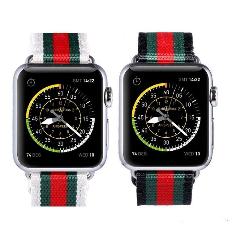 Accessories Apple Watch Band Strap Striped Nylon & Leather, Fits Series  44mm/ 40mm/ 42mm/ 38mm  iwatch Series 1 2 3 4